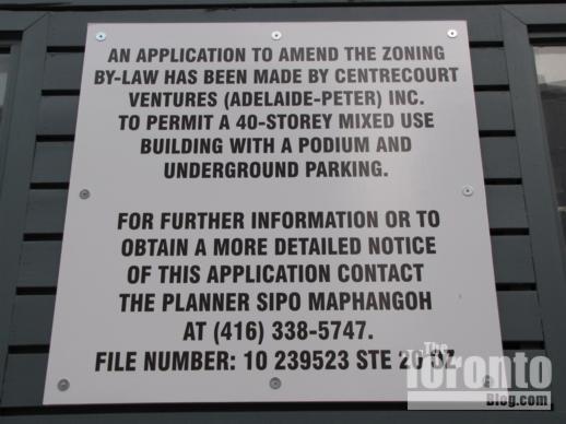328 Adelaide Street West development proposal sign