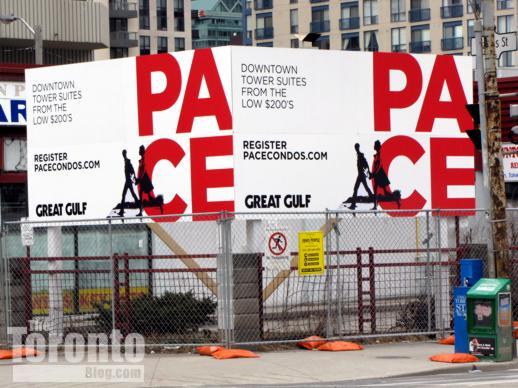 Pace Condos billboard at Dundas and Jarvis Streets