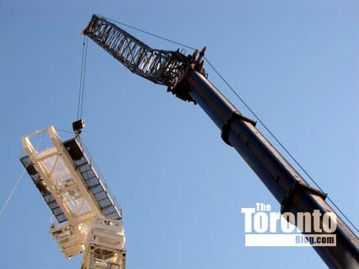 Construction crane installation at Women's College Hospital