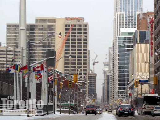 Construction cranes on Bay Street Toronto