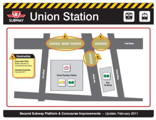 Union Station subway platform construction