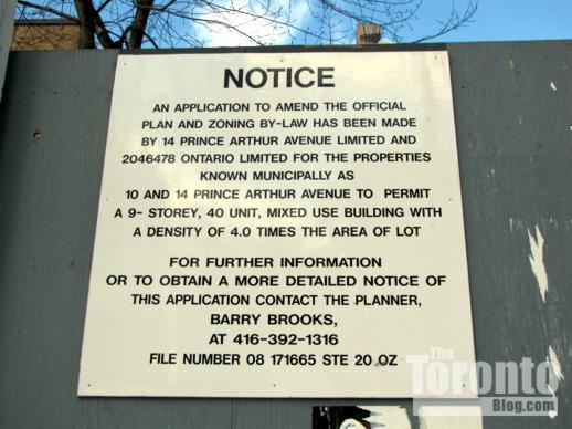 10-14 Prince Arthur Avenue condo development notice