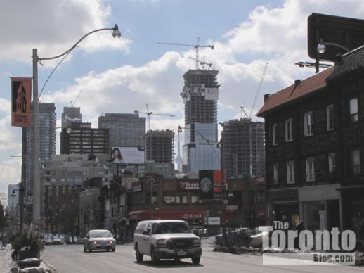 Four Seasons tower viewed from Yonge Street near Roxborough Street