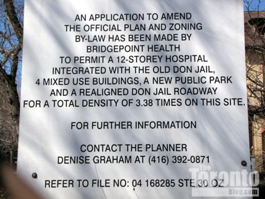 Bridgepoint redevelopment proposal sign on Gerrard Street East