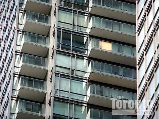 Missing balcony panel on Murano Condos North Tower