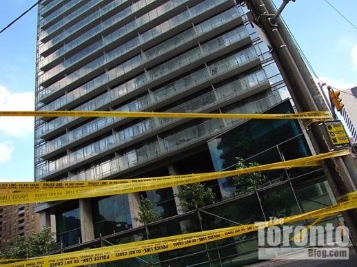Police tape on Grosvenor Street Toronto