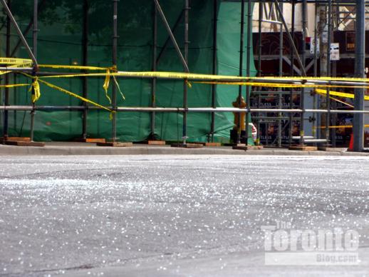Shattered glass on Grosvenor Street