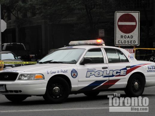 Toronto police car at Bay & Grenville Streets