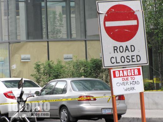 street closure sign on Grenville Street