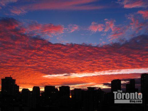 sunset above downtown Toronto