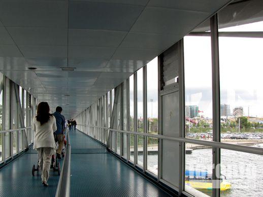 an enclosed walkway at Ontario Place