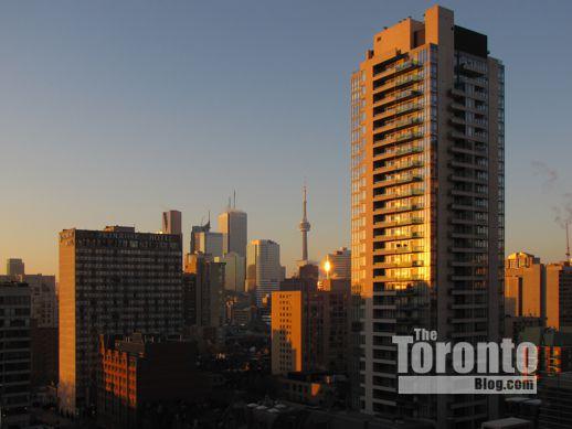 Toronto Financial District skyline at sunrise