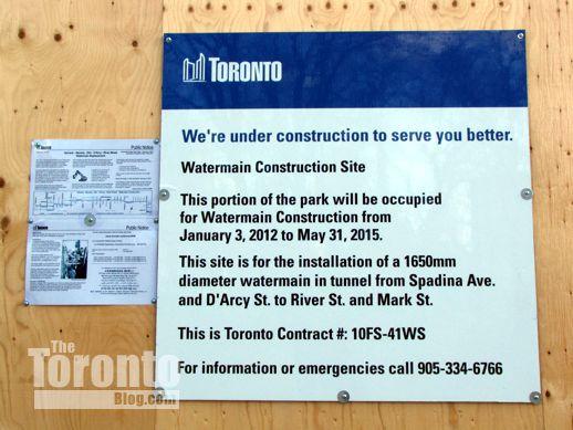 Watermain construction sign at Allan Gardens