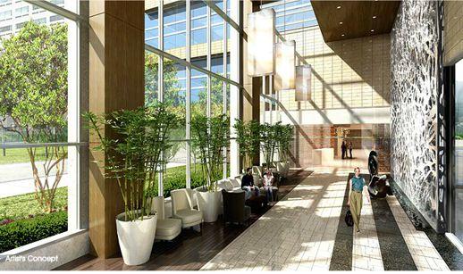 Website illustration of the Aura condo lobby