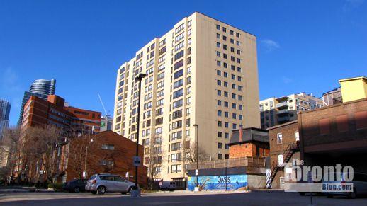 View toward 77 Carlton Street condos