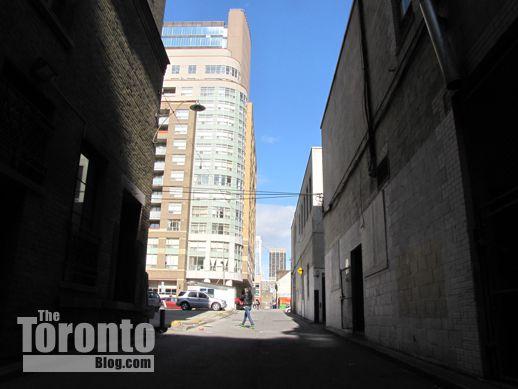 north view of St Luke Lane behind 460 Yonge condo site
