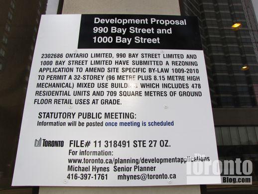 1000 Bay Street development proposal sign