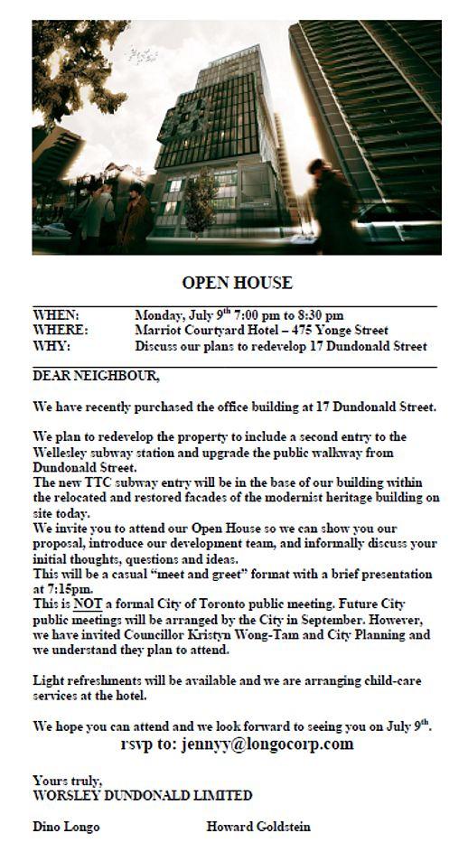 17 Dundonald Street open house notice