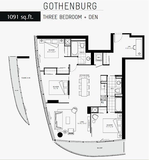 ICE 1 condominium tower Gothenburg suite layout