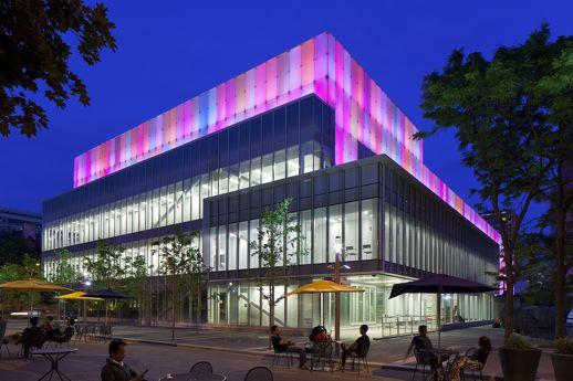 Ryerson Image Centre multi-colour lighting photograph by Tom Arban
