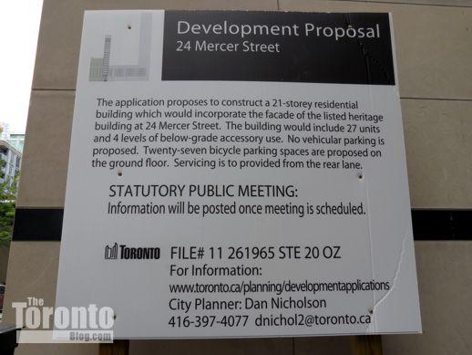 24 Mercer Street development proposal sign