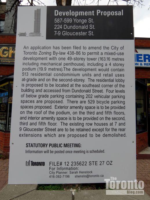 587-599 Yonge Street development proposal sign
