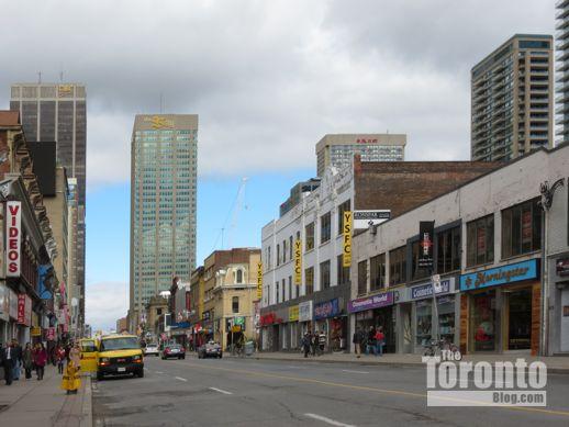 looking north on Yonge Street from Irwin Street