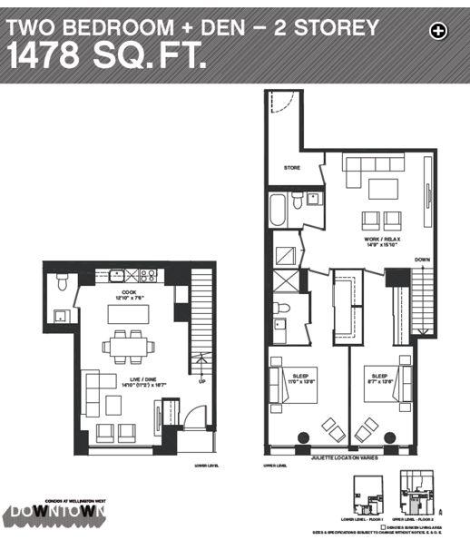 Downtown Condos Townhouse 2 floorplan illustration