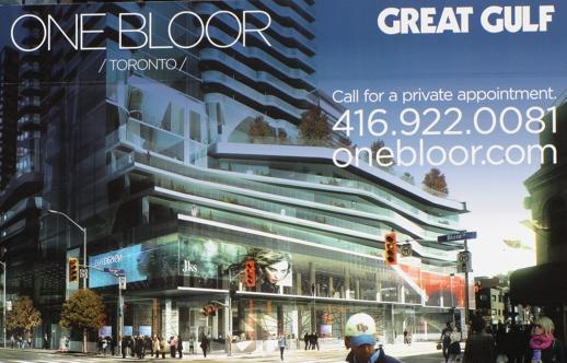 One Bloor condo tower Toronto marketing billboard