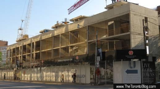 U Condos urban townhomes under construction on Bay Street