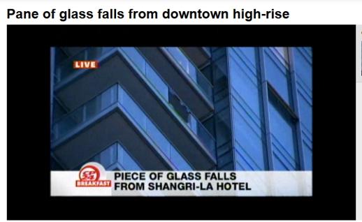 Shangrila Toronto shattered balcony panel